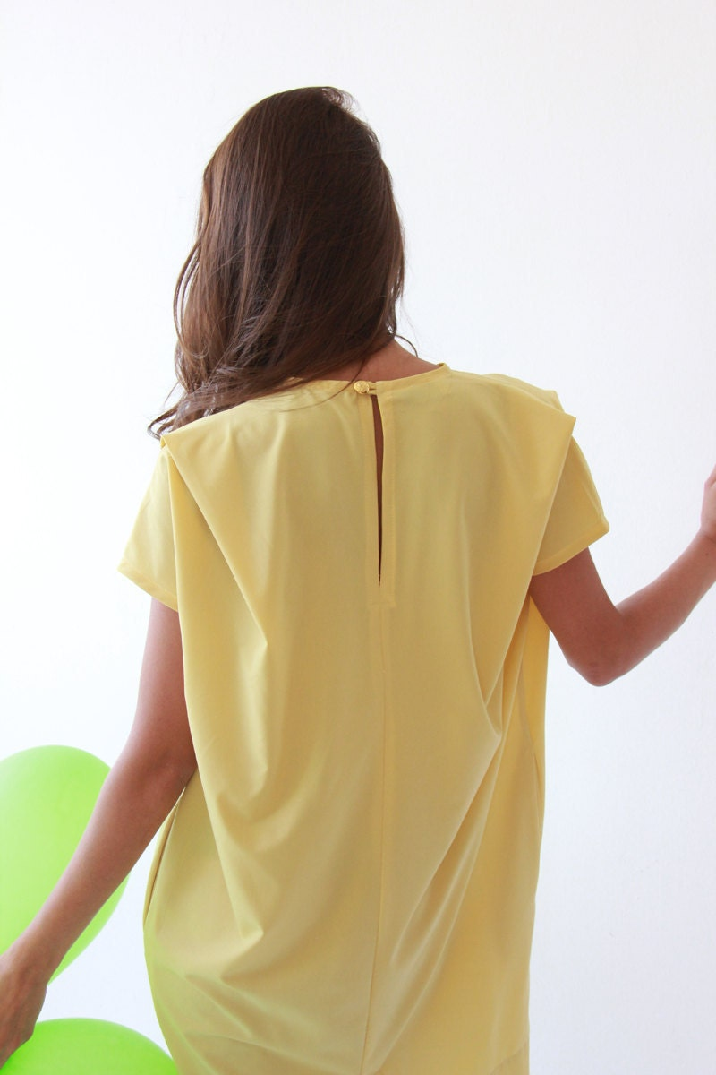 Yellow,Oversize,Mini sundress - BLUSHFASHION
