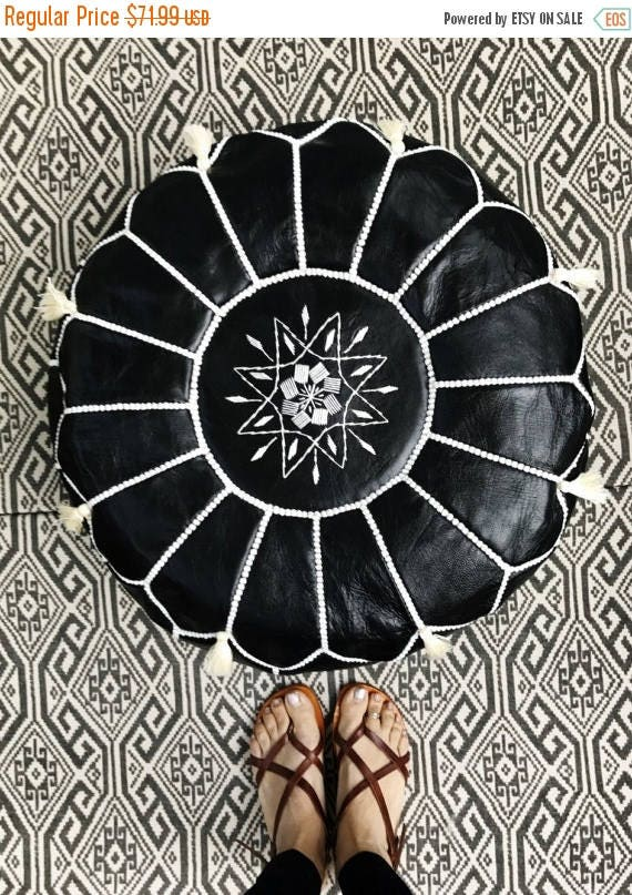 10 OFF Summer SALE  SALE Valentines Day 30 Percent Off  Black with White Stitching Moroccan Leather Pouf with Tassels  Pompoms   Ho
