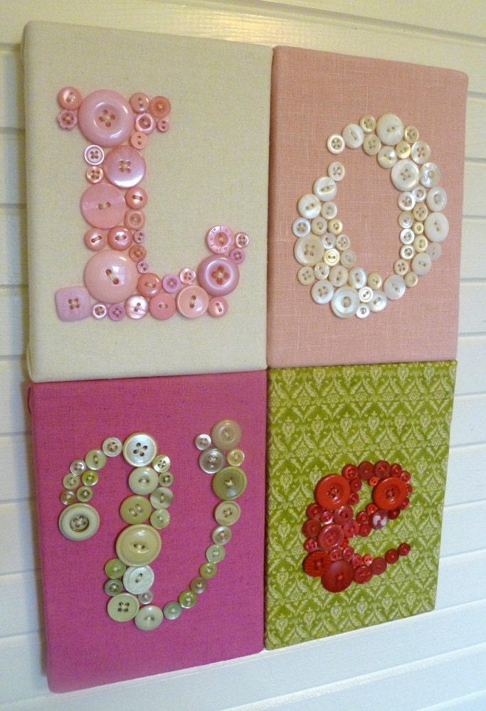 Items similar to Personalized Red Button Nursery Letter Art ...