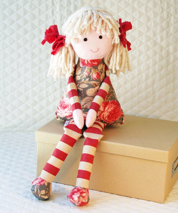 Cloth Doll eco-friendly rag doll, she has bamboo yarn hair and is stuffed with corn fiber - RagDollsRising