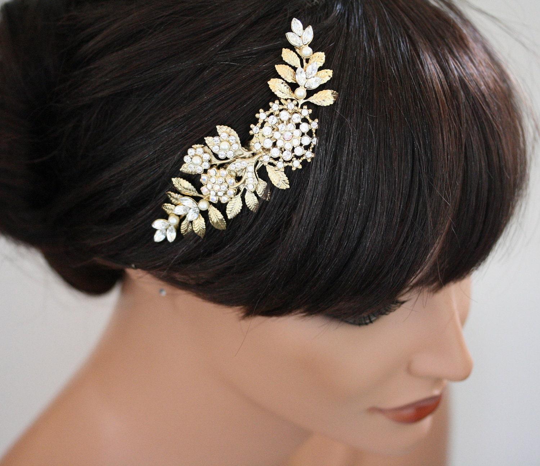 Gold Wedding Hair Piece, Bridal hair Comb Vintage leaves, Wedding Hair Accessories, Swarovski Rhinestone and Ivory Pearl IVY