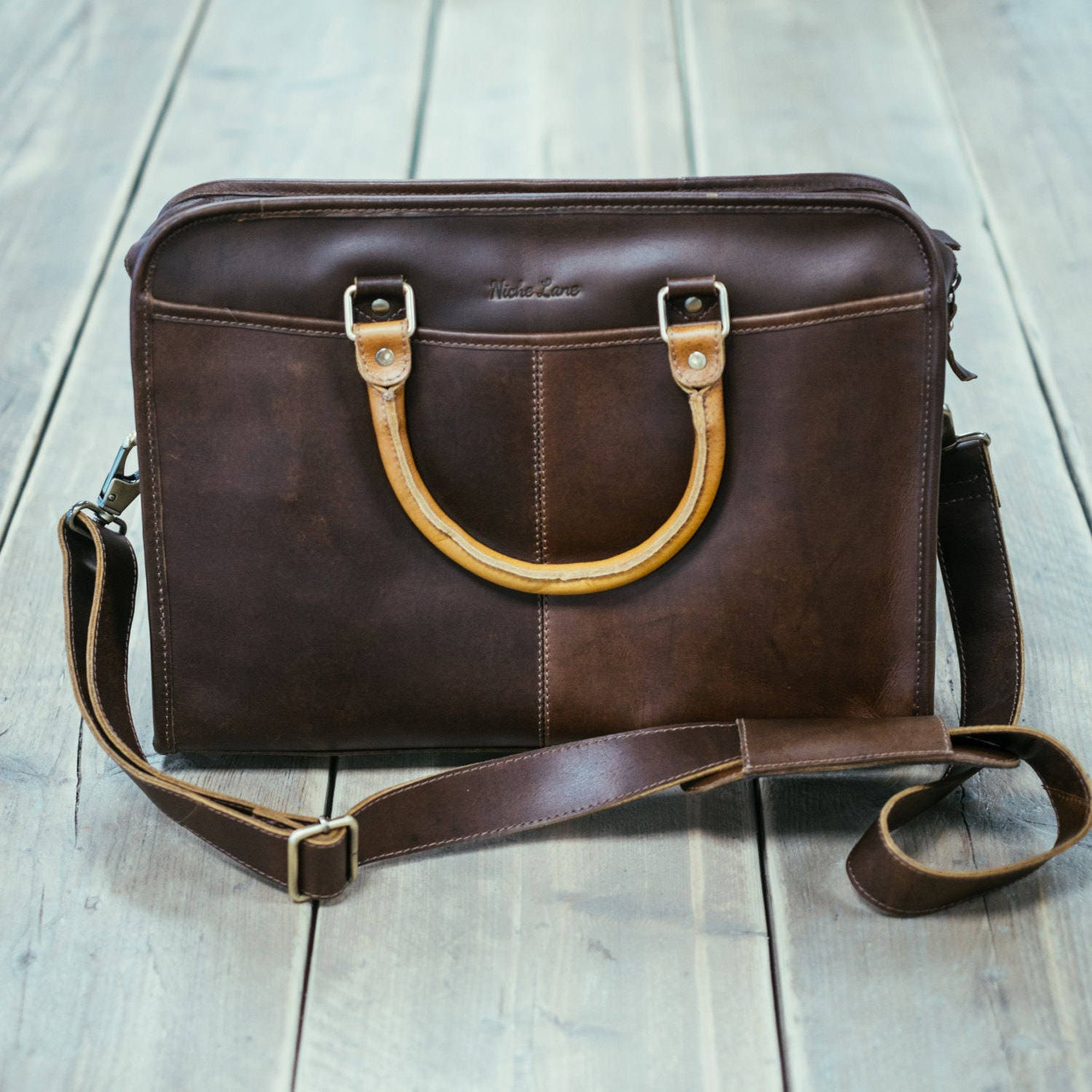 Leather briefcase  14 inch laptop satchel Messenger Bag for men and women  Niche Lane Loxley Coffee