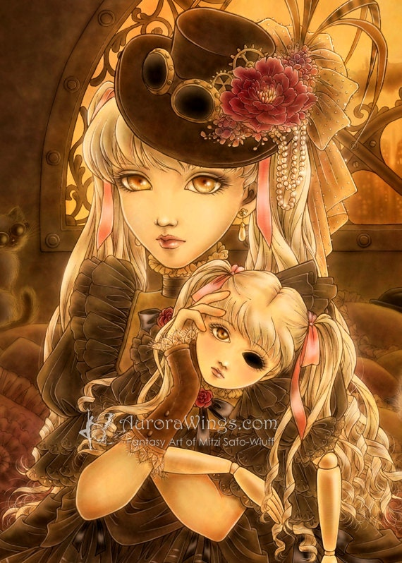 Open Edition ACEO Print - Steampunk Girl with a Doll - Unless - Dark Fantasy in Gold and Brown Hues - Fantasy Art by Mitzi Sato-Wiuff - AuroraWings