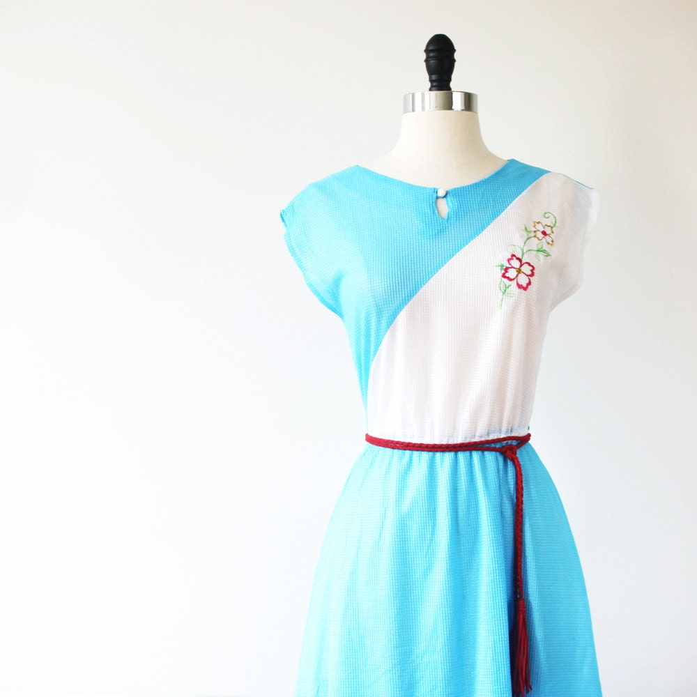 CIJ 10% Off// Japanese Vintage Dress// 70s Dress// Summer Splash Blue Dress// Japan s - m// christmasinjuly Christmas In July - StandardVintage