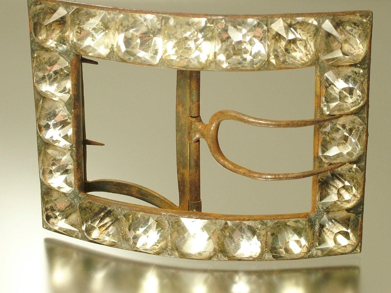 Large antique estate Georgian 1800s steel and old cut paste shoe buckle  jewelry jewellery UK seller