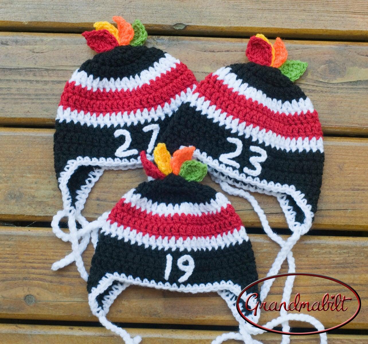 Free Crochet Pattern For Baby Hockey Helmet : Customized for rpkeck Chicago Blackhawks Baby by Grandmabilt