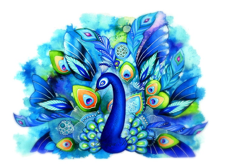 Peacock in Full Bloom - Watercolor Fantasy Painting by Annya Kai - Nature Inspired Bird Wall Art