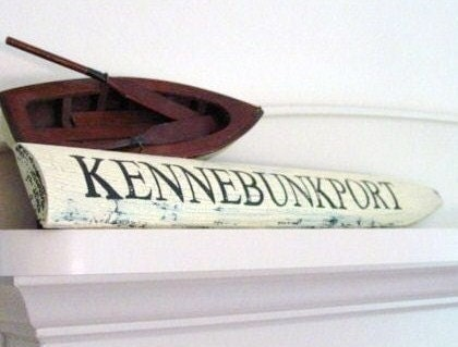 KENNEBUNKPORT Crackled Picket Wood Sign - woodwords