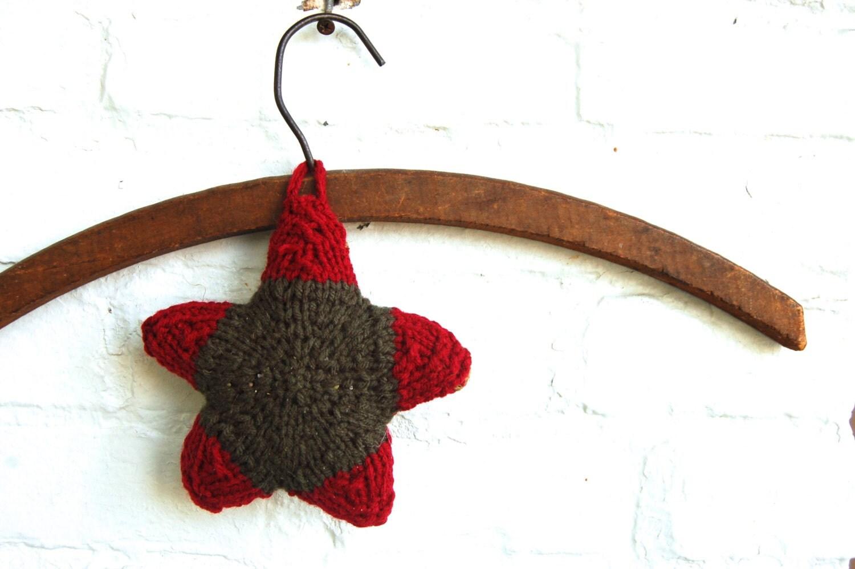 Ornament under 15 Hand Knit Christmas Sachet Lavender and Clove Natural Fragrance Color Block - AdobeHouseVintage