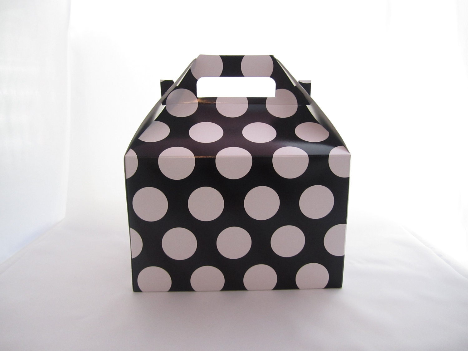 Set of 25 Large Black Polka Dot- Pink Polka Dot - or Zebra Print  Gable Top Boxes - justalittlefavor
