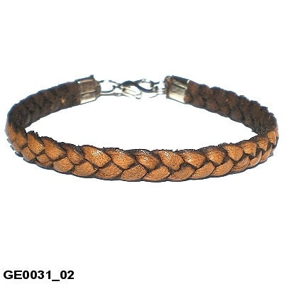 Brown real leather thin flat plaited bracelet with clasp fastener hand made small and extra large