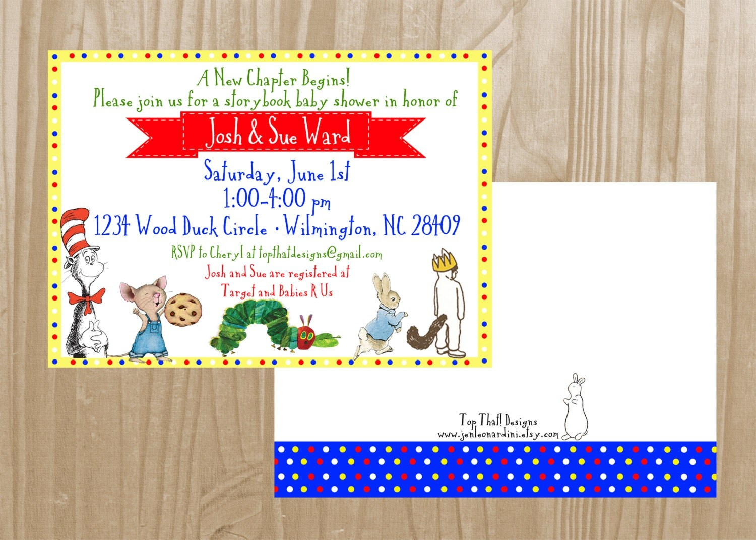 children 39 s book themed baby shower invitation collection featured on