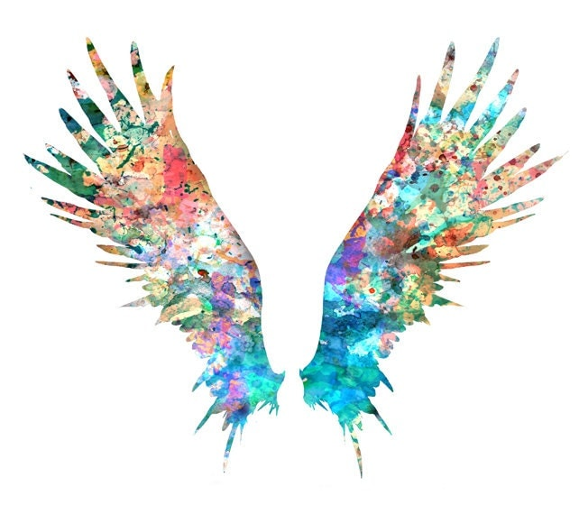 Angel Wings Art Print Colorful Watercolor Painting By