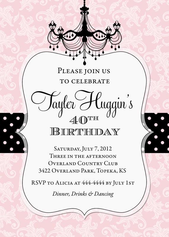 Adult Chandelier Birthday Invitation - Printable - Any ...