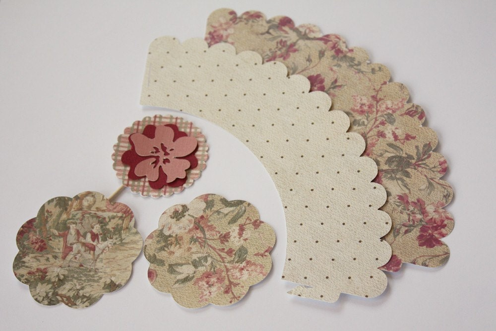 French Country Cupcake Wrappers, Cupcake Toppers and Straw Toppers - FREE SHIPPING