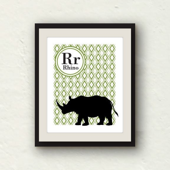 Nursery Decor - R is for Rhino - Green nursery - 8x10 Graphic Art Print - PaperFinchDesign