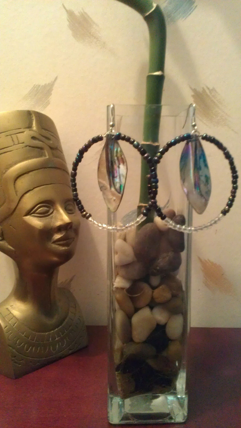 """Multicolored Metallic & Translucent Beaded Hoop Earrings with Hanging Iridescent Accents: """"SyberRings"""""""