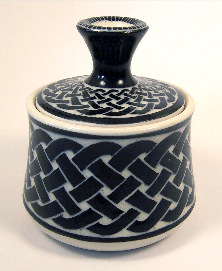Celtic Knot Covered Jar in Black and White