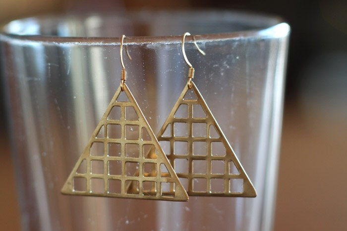 Brass Triangle Grid Earrings