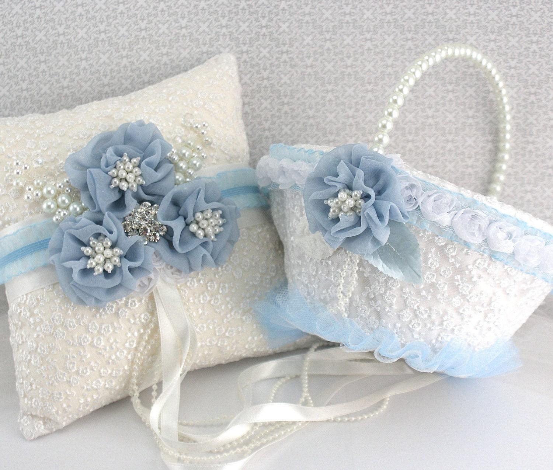 Bridal Ring Bearer Pillow And Flower Girl Basket Set In White Powder