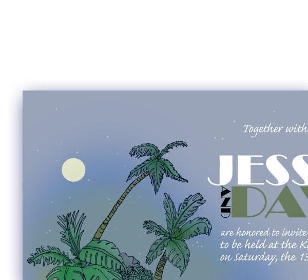 Starry Night Desert Island Printable Wedding Invitation
