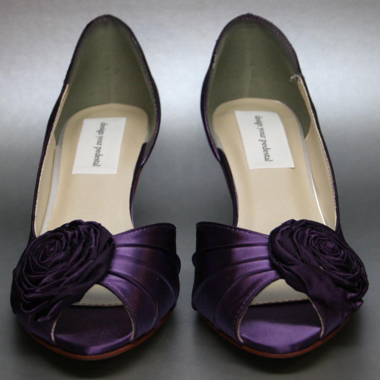 Purple Wedding Shoes: Eggplant Wedding Shoes Eggplant Kitten By DesignYourPedestal