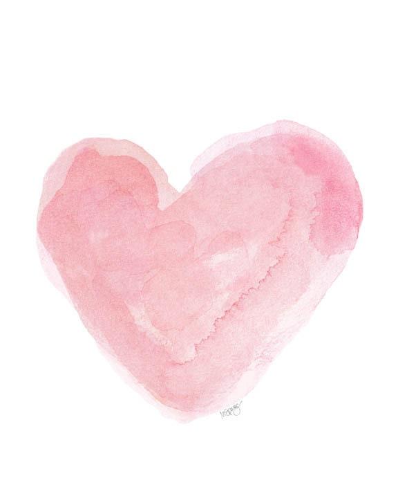 Nursery Art Watercolor Painting Heart Art By