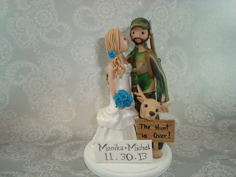 Custom hunting fishing theme wedding cake topper by mudcards for Fishing themed cake toppers