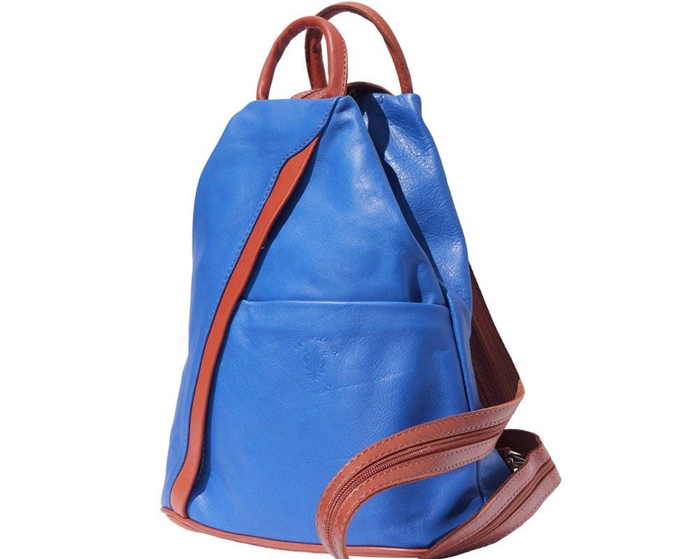 Italian Leather Backpack Shoulder Bag Handcrafted In Florence Italy in Electric Blue  Tan 2061
