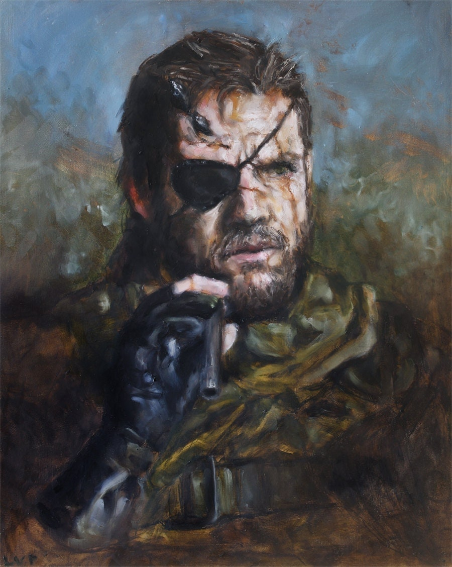 Big Boss / Naked Snake Original Painting - Metal Gear Solid - 24x19in Oil Stick on Panel