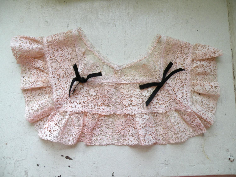 40s Pink Antique Lace Prairie Detachable Collar - dandylioness