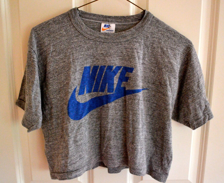 vintage nike 80s crop top athletic tshirt by. Black Bedroom Furniture Sets. Home Design Ideas