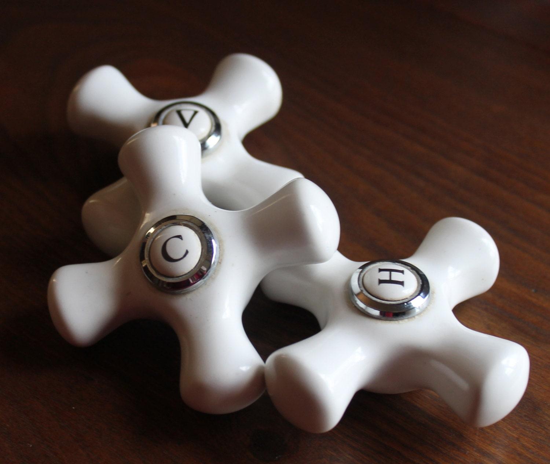 porcelain knobs faucet bathroom shower sink cold cross