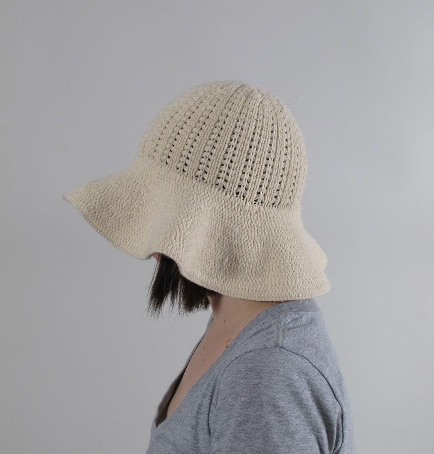 Knitting Pattern For Floppy Beanie : Vintage VERY VANILLA Floppy Knit Hat by LadyMoonVintage on Etsy