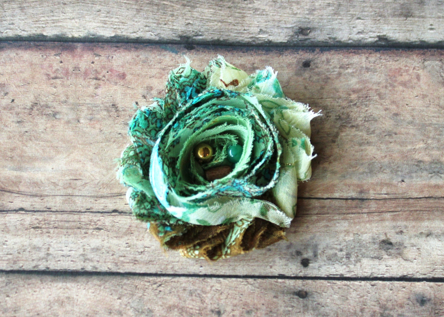 Green Paisley Shabby Chiffon, toddlers hair clip , girls hair clip, teens & adults hair clip or newborn headband - CappyClips