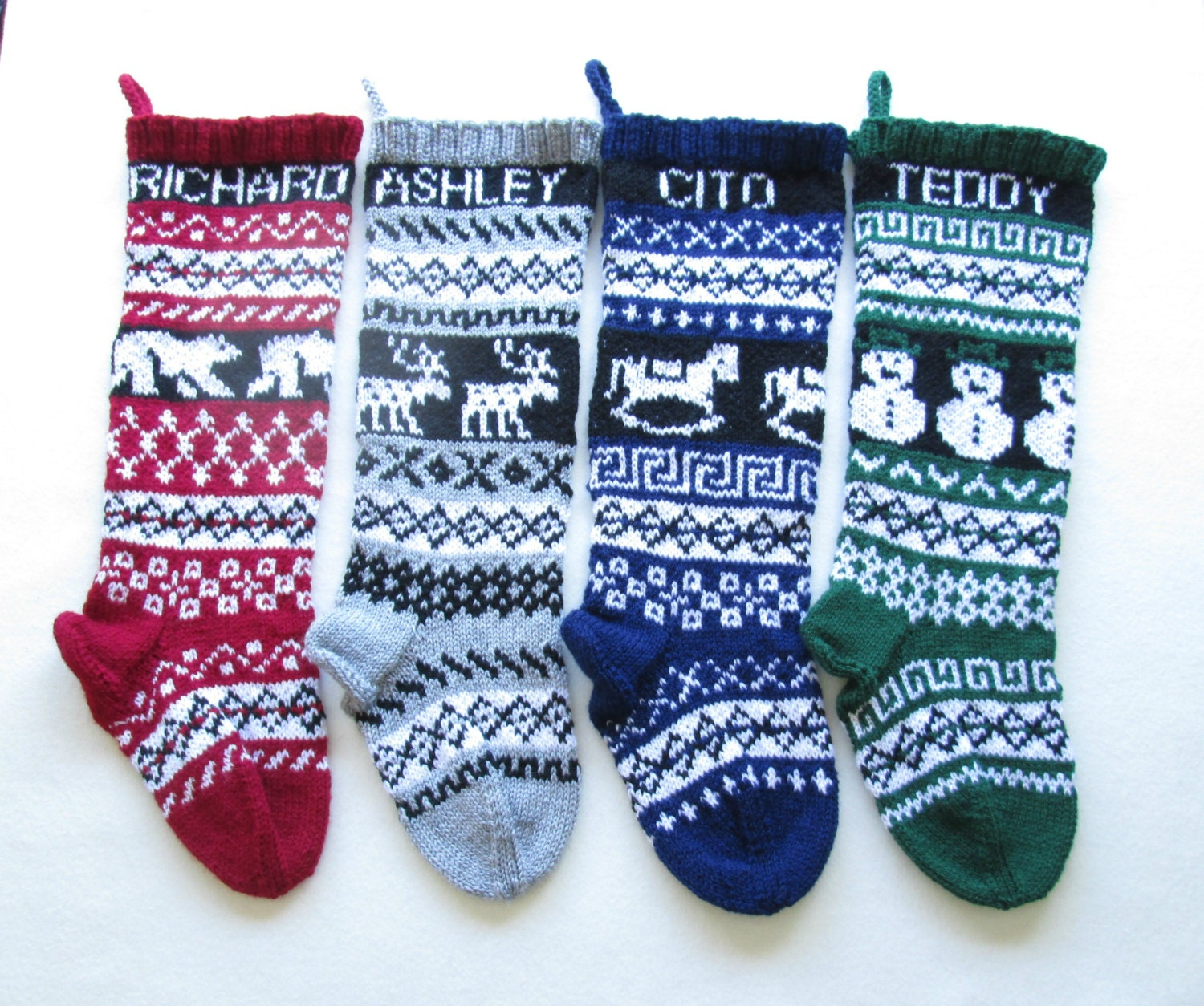 Knitted Christmas Stockings set of 4 fair by SantasSockCentral