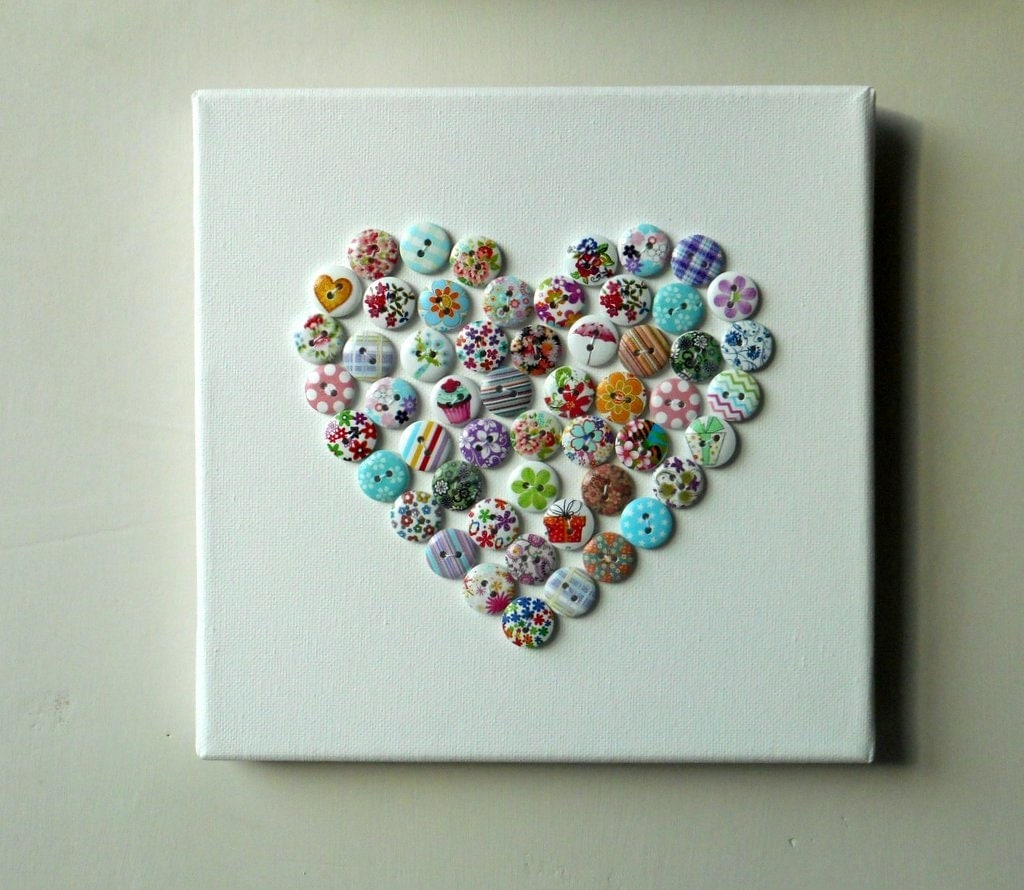 Hand made Heart Button Canvas Picture (hand stitched)