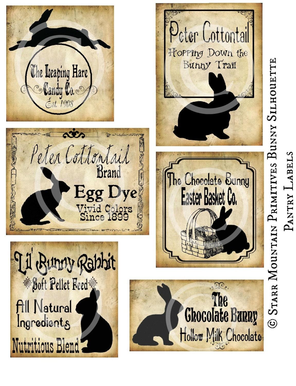 primitive chocolate bunny silhouette bunnies by starrmtnprims