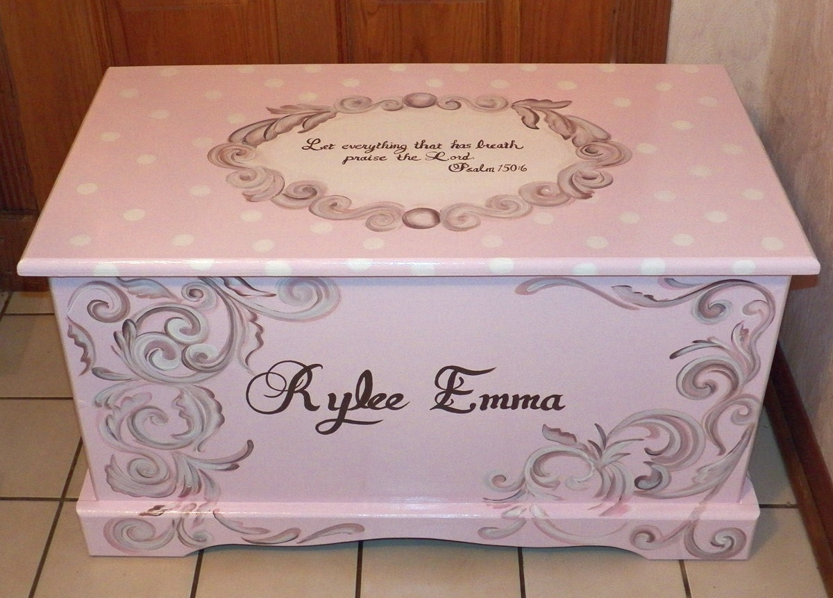 Custom Hope Chest or toy box with a verse by originalsbybarbmazur