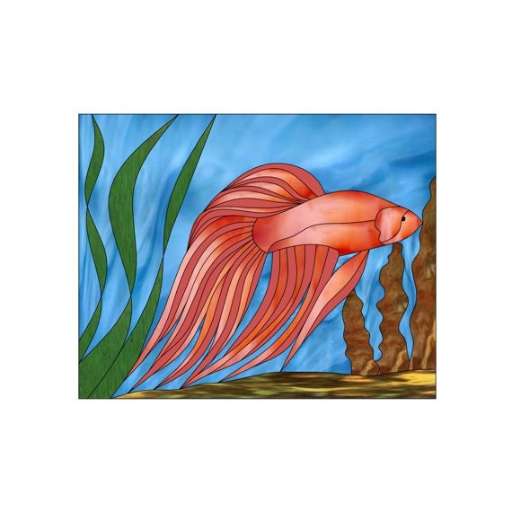 Tropical fish stained glass pattern by ascendantart on etsy for Stained glass fish patterns