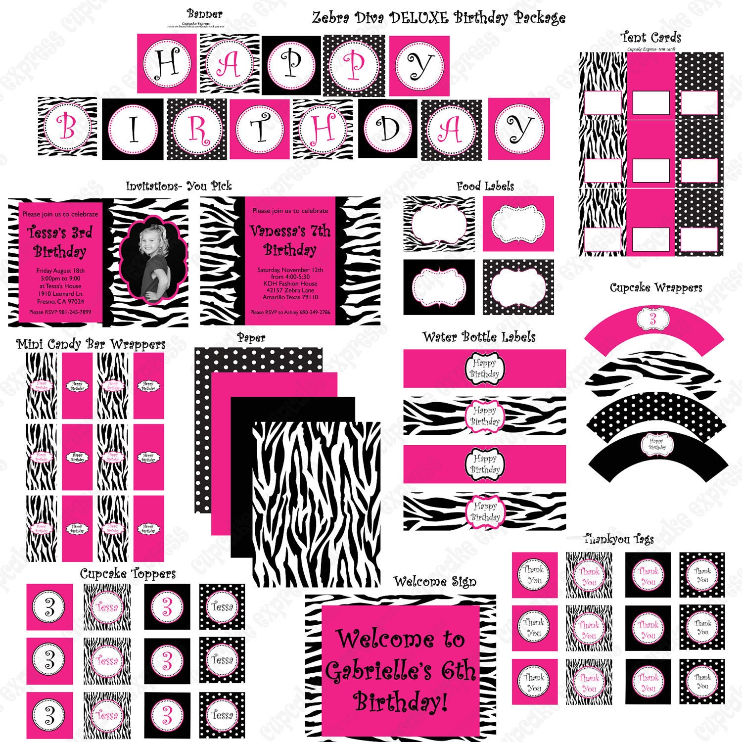 Diva Zebra Deluxe Birthday Collection PRINTABLE By