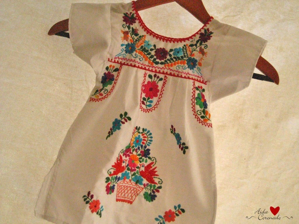 Beautiful handmade embroidered mexican baby dress by