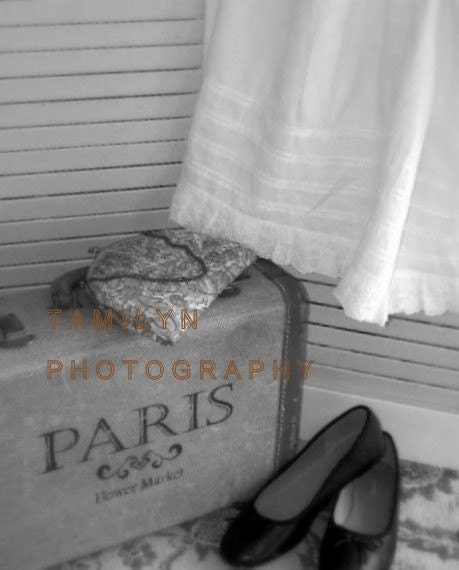 Paris Photograph,Suitcase photo, printable,WAITING digital download, Paris, Suitcase, Vintage Purse - photoprintsbytamilyn
