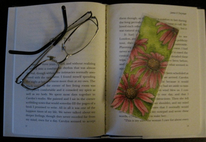 Handmade Original Pen & Ink Artwork, One of a Kind Colorful, Beautiful Double Sided Pink Flower Bookmark, Abstract Watercolor