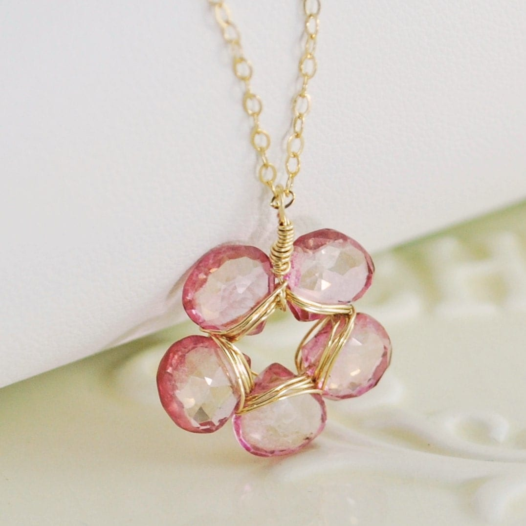 Pink Topaz Necklace Flower Wrapped Gold Jewelry