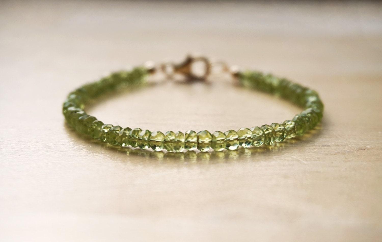Peridot Bracelet (AAA Quality) August Birthstone Green Gemstone Bracelet Peridot Jewelry Gemstone Jewelry Thin Gemstone Bracelet