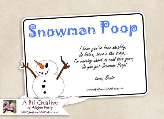 Snowman Poop Winter Christmas Stocking Stuffer Gag Gift Design - DIY ...