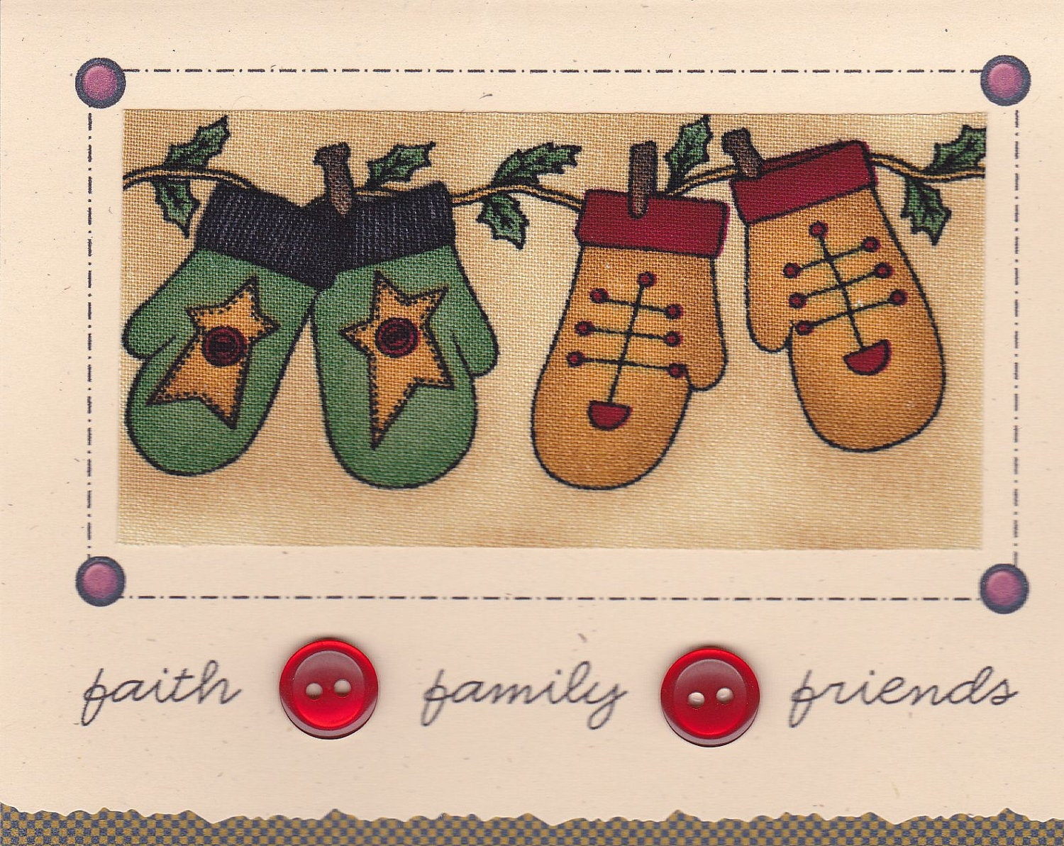 Handmade Christmas Card Primitive Mittens C42 by CardsByLynelle