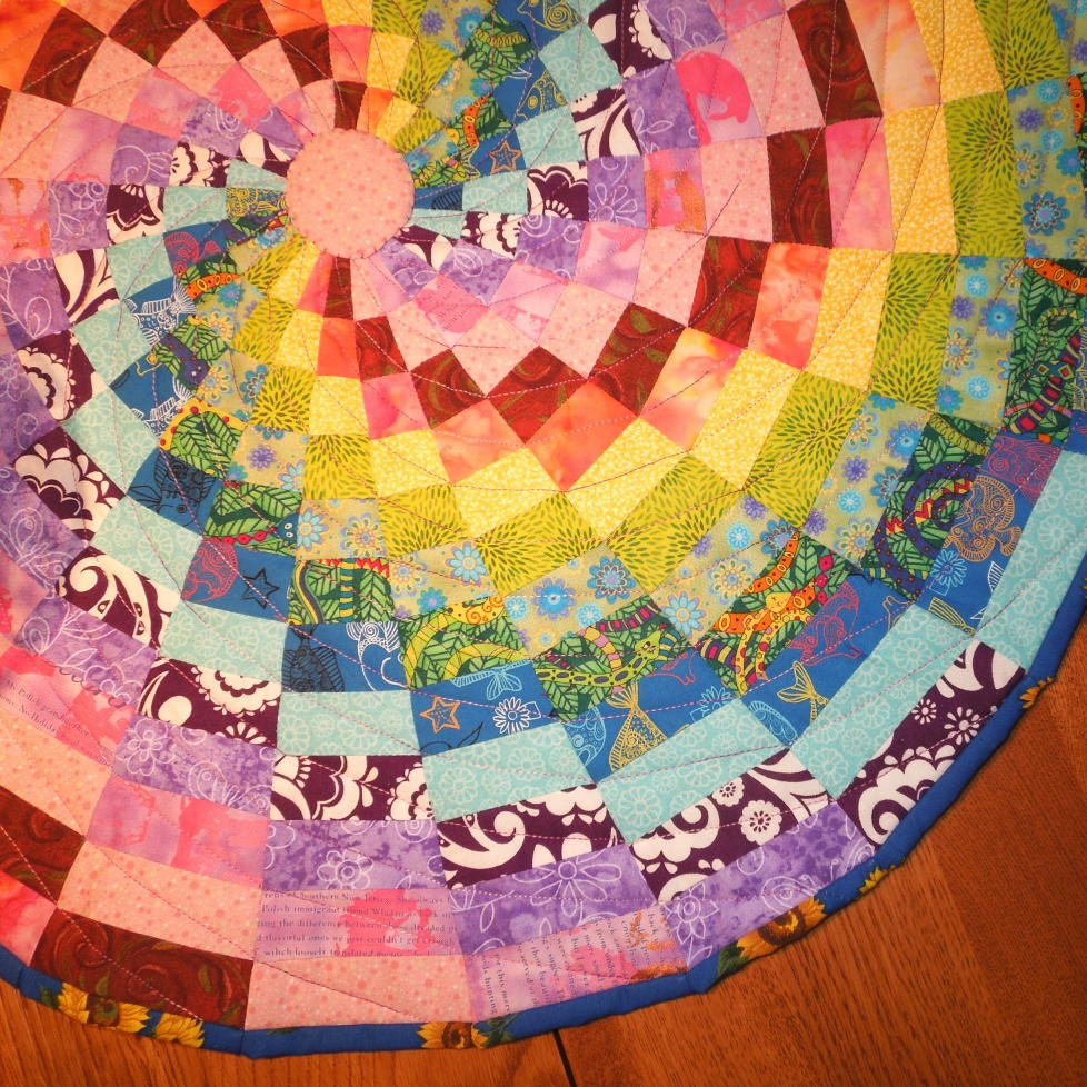 Quilted table topper Rainbow spiral by SumireDesign on Etsy