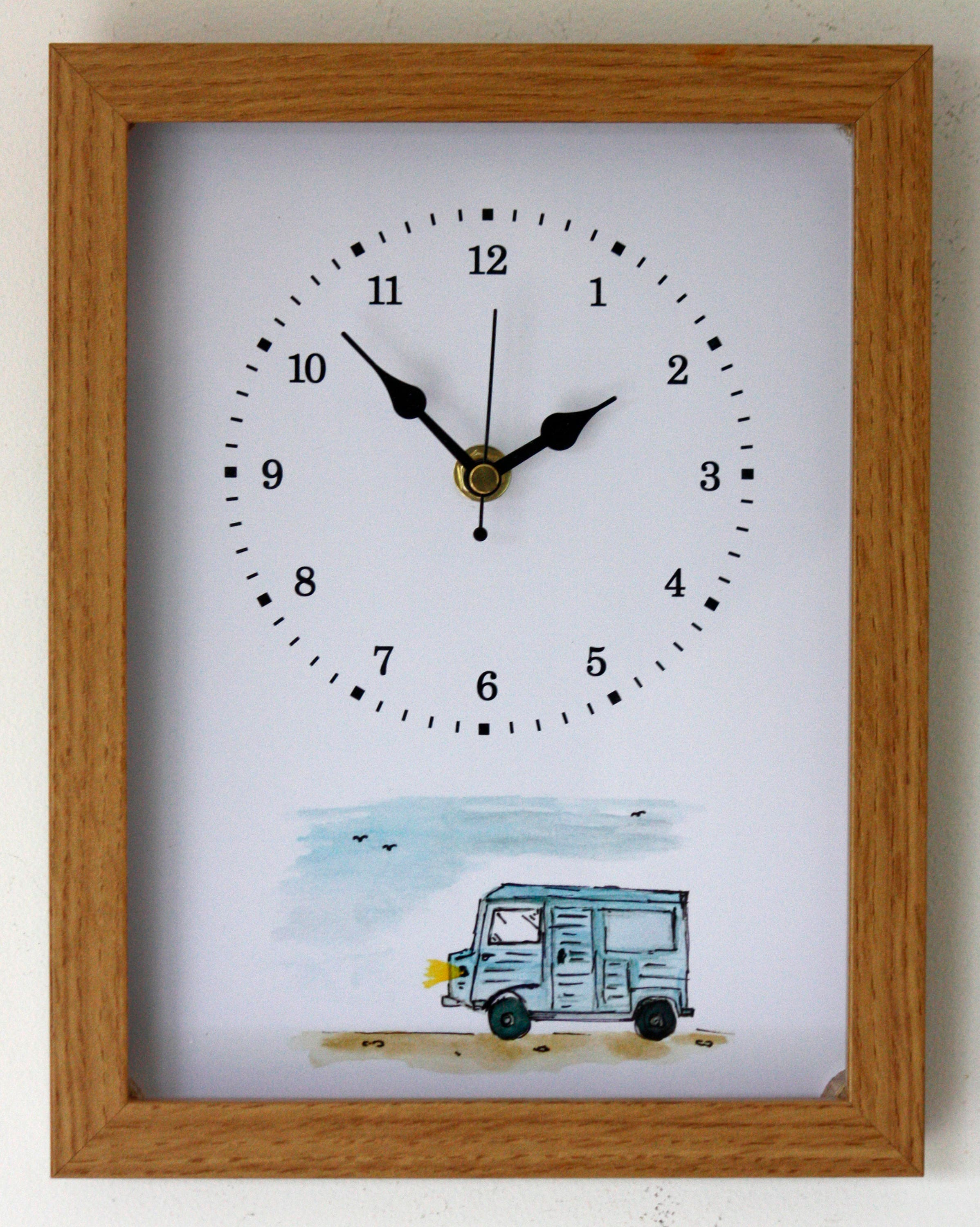 Image of NEW 26cm Citroen HY Van Wall Clock Modern Rustic French Country Style Watercolour Painting